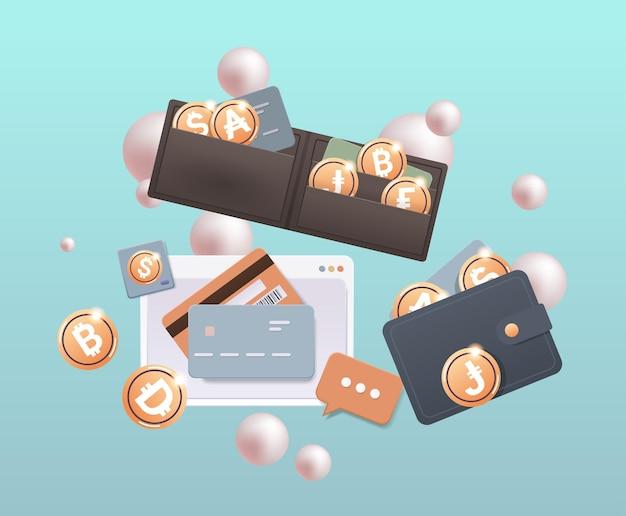 Crypto portemonnee met gouden munten cryptocurrency blockchain technologie digitale valuta concept