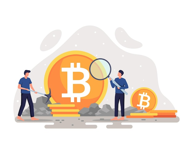 Crypto valuta mijnbouw illustratie cryptocurrency concept met mijnwerker en munten