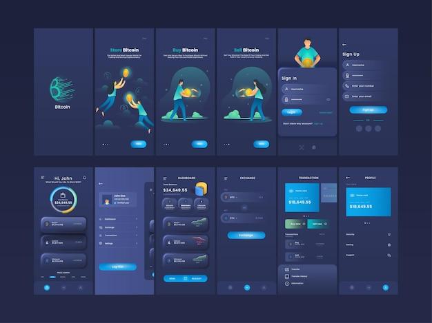 Crypto-valuta mobiele app ui, ux, gui-schermen zoals account maken