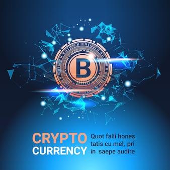 Crypto-valutabanner met exemplaarruimte bitcoin op blauwe achtergrond digitale webgeldtechnologie