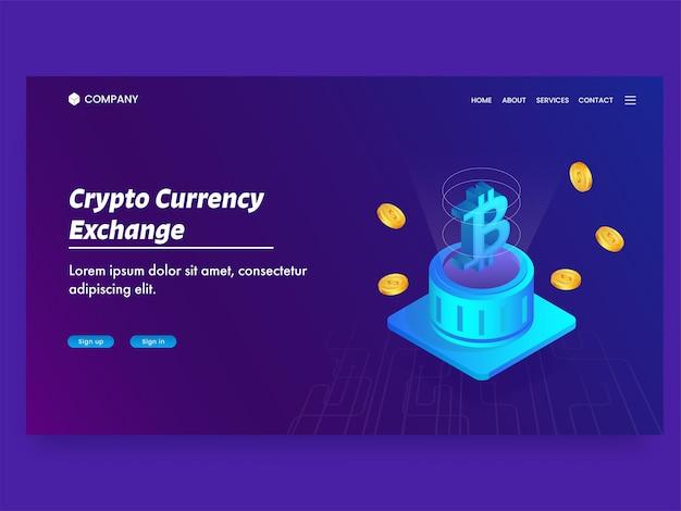 Crypto-valutawissel-bestemmingspagina met bitcoin-server en gouden dollarmunten.