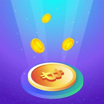 Cryptocurrencies met een gouden bitcoin op de voorkant