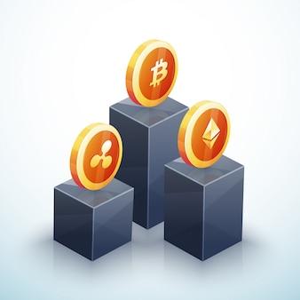 Cryptocurrencies op het podium met een gouden bitcoin bovenaan
