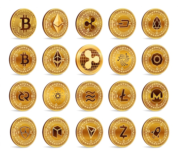 Cryptocurrency 3d gouden munten set. bitcoin, ripple, ethereum, litecoin, monero en andere.