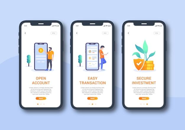 Cryptocurrency app set van onboarding scherm mobiele ui