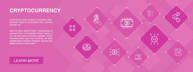 Cryptocurrency banner 10 pictogrammen conceptblockchain mijnbouw cryptografie eenvoudige pictogrammen