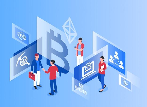 Cryptocurrency bitcoin technologie isometrische pictogrammen