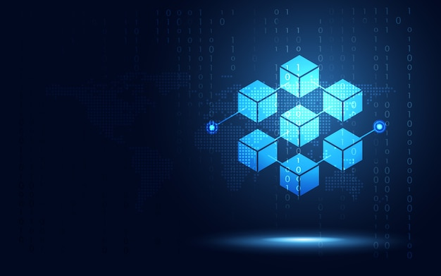 Cryptocurrency block chain server abstracte achtergrond