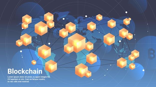 Cryptocurrency blockchain technologie virtuele valuta op wereldkaart horizontale kopie ruimte vectorillustratie