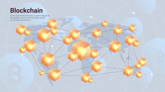 Cryptocurrency blockchain-technologie virtuele valuta op wereldkaart horizontale kopieerruimte