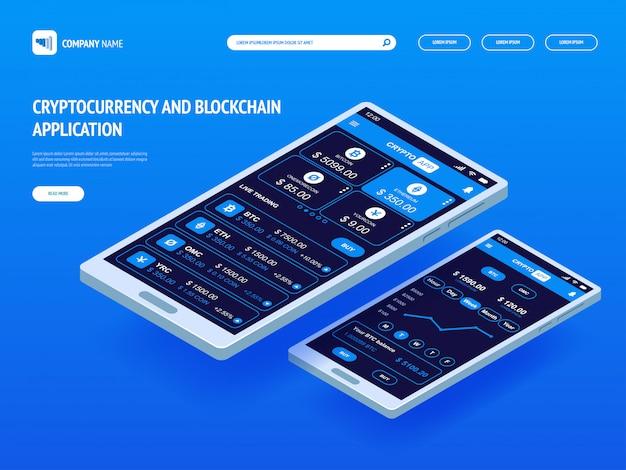Cryptocurrency en blockchain-applicatie voor smartphone.