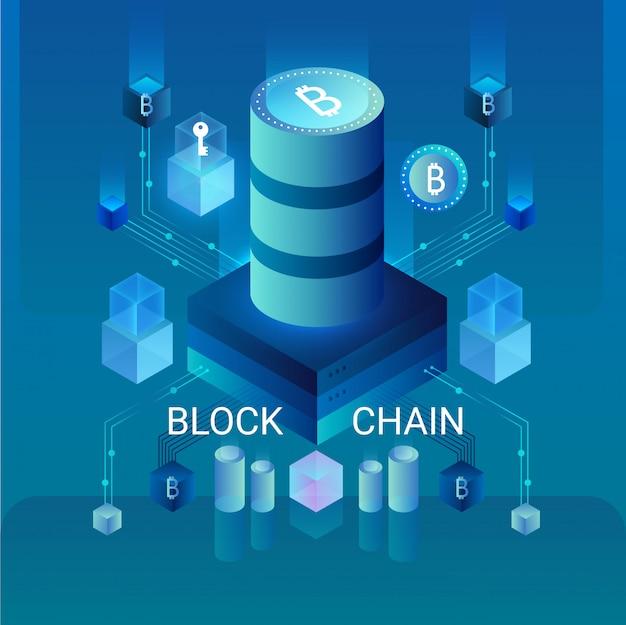 Cryptocurrency en blockchain-concept, gegevensgestuurd centrum, isometrische illustratie voor cloudgegevensopslag. webdesign, presentatiebanner.