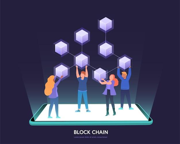 Cryptocurrency en blockchain digitale blokkenverbinding voor het overmaken van digitaal geld in bedrijfsbeveiliging. linked block bevat cryptografie-hash en transactiegegevens. nieuwe futuristische systeemtechnologie.
