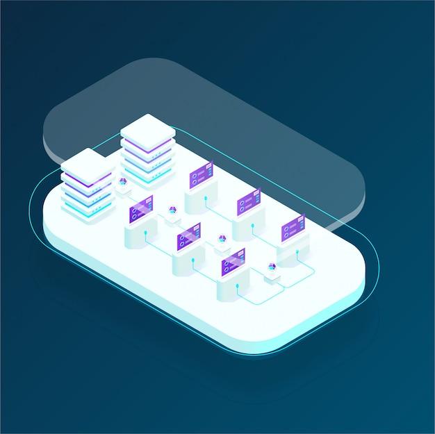 Cryptocurrency en blockchain isometrische samenstelling, analisten en managers die werken aan crypto-startup, data-analisten. isometrische vectorillustratie
