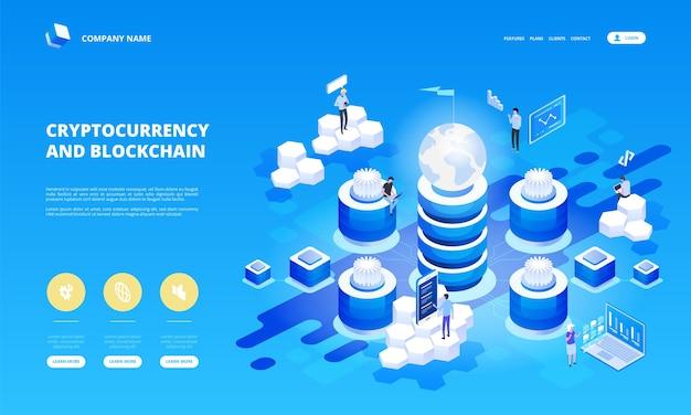 Cryptocurrency en blockchain isometrische samenstelling met mensen, analisten en managers die werken aan het opstarten van crypto. isometrische illustratie.