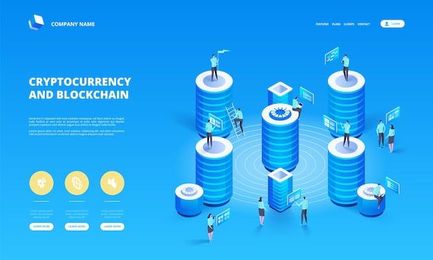 Cryptocurrency en blockchain isometrische samenstelling met mensen, analisten en managers die werken aan het opstarten van cryptovaluta. isometrische illustratie.