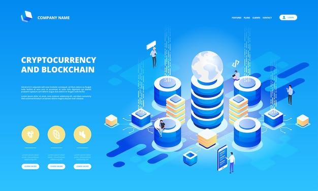 Cryptocurrency en blockchain isometrische samenstelling met mensen