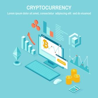 Cryptocurrency en blockchain. mijnbouw bitcoins. digitaal betalen met virtueel geld, financiën. 3d isometrische computer, laptop met muntstuk, token. ontwerp voor banner