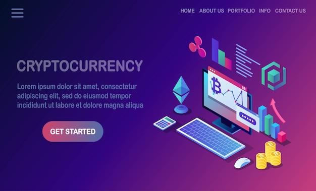 Cryptocurrency en blockchain. mijnbouw bitcoins. digitaal betalen met virtueel geld, financiën. isometrische computer, laptop met munt, token.