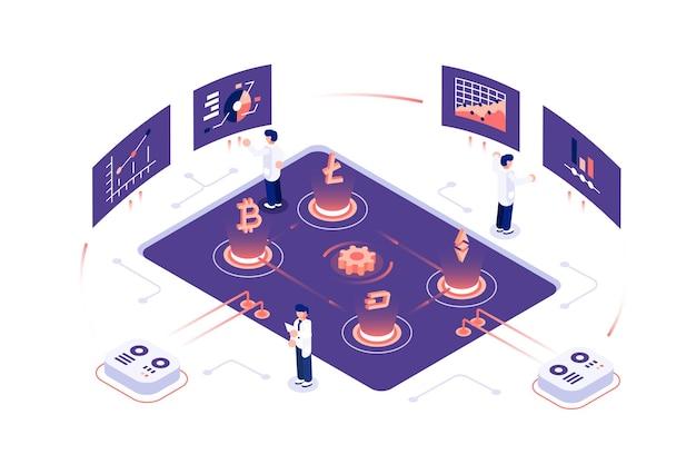 Cryptocurrency en blockchain-samenstelling met mensenillustratie