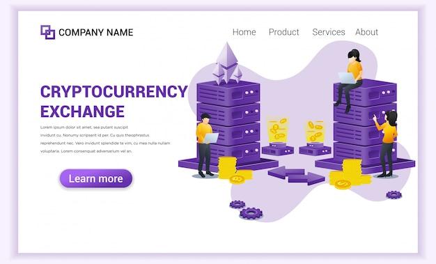 Cryptocurrency exchange-concept met mensen die op laptop en server werken voor het uitwisselen van bitcoin en digitale valuta's