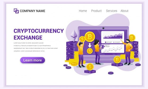 Cryptocurrency exchange-concept met mensen die op laptop werken voor het uitwisselen van bitcoin en digitale valuta