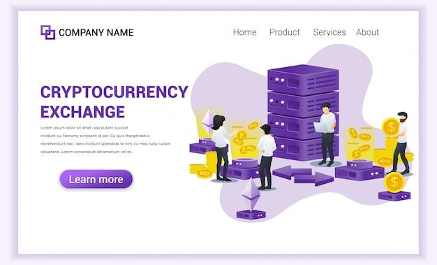 Cryptocurrency exchange-concept met mensen die werken op laptop en gigantische server voor uitwisseling van bitcoin en digitale valuta's