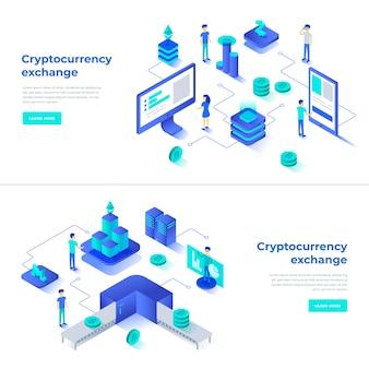 Cryptocurrency exchange en blockchain isometrische composities
