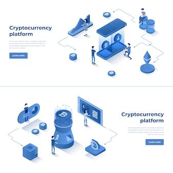 Cryptocurrency exchange en blockchain isometrische samenstelling
