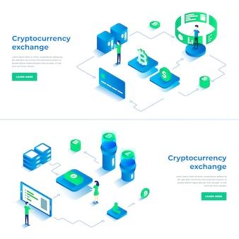 Cryptocurrency exchange isometric composition.
