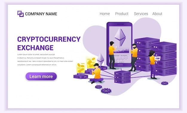 Cryptocurrency exchange met mensen die werken op mobiele telefoon voor het uitwisselen van bitcoin en digitale valuta's.