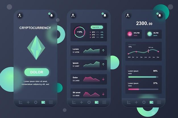 Cryptocurrency glasmorfische ontwerpset met neumorfische elementen voor mobiele app ui ux gui-schermen
