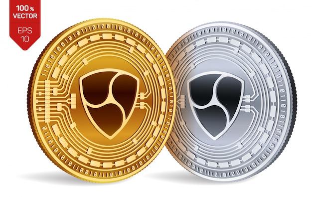 Cryptocurrency gouden en zilveren munten met nem-symbool geïsoleerd op een witte achtergrond.