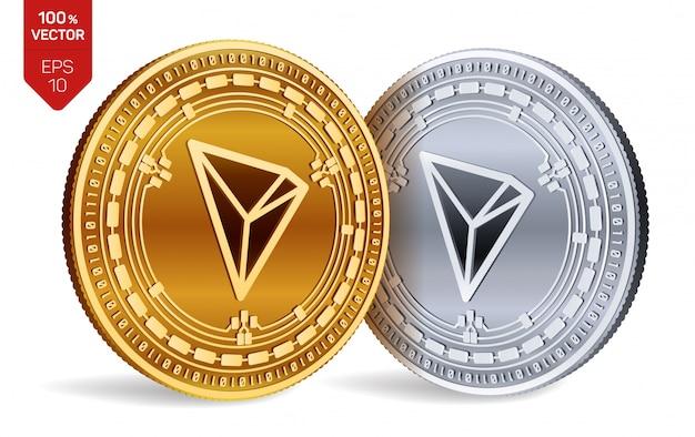 Cryptocurrency gouden en zilveren munten met tron-symbool geïsoleerd op een witte achtergrond.