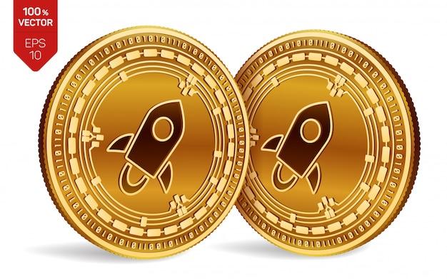 Cryptocurrency gouden munten met stellar-symbool geïsoleerd op een witte achtergrond.