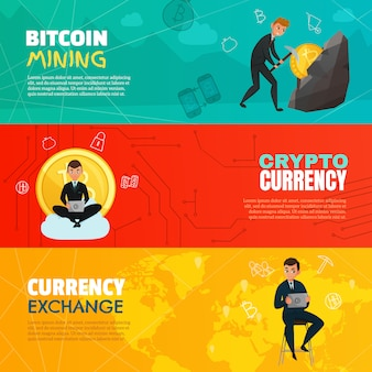 Cryptocurrency horizontale banners