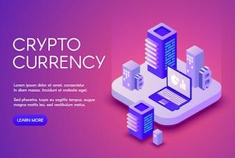 Cryptocurrency illustratie poster voor bitcoin crypto valuta mijnbouw en blockchain.
