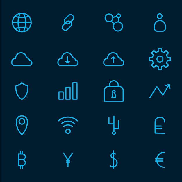 Cryptocurrency instellen elektronische contant geld symbool vector