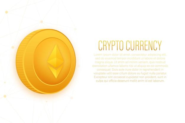 Cryptocurrency-logo etherium in vlakke stijl op gouden achtergrond vectorontwerp geïsoleerd