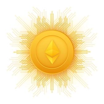 Cryptocurrency-logo etherium in vlakke stijl op gouden achtergrond