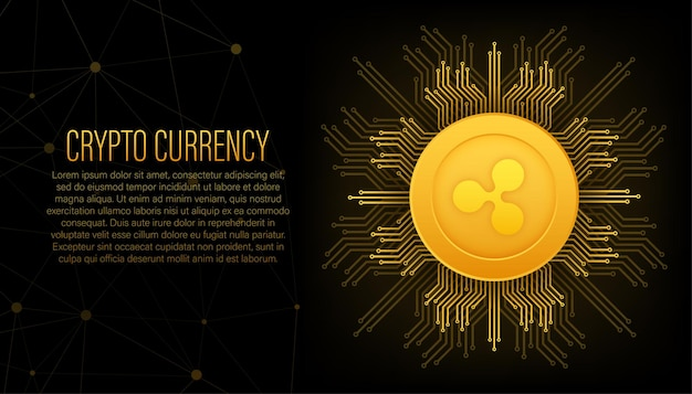 Cryptocurrency-logo rimpel in vlakke stijl op gouden achtergrond