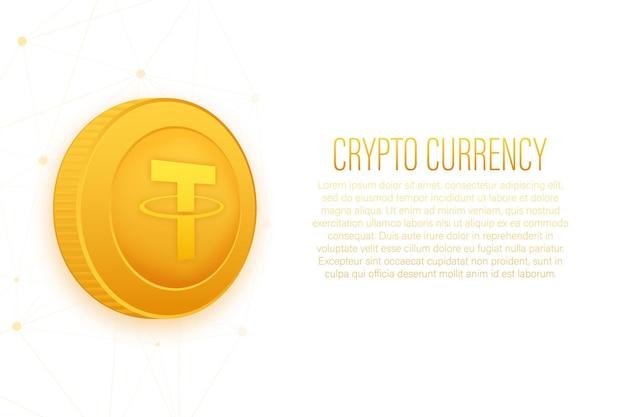Cryptocurrency-logo tether in vlakke stijl op gouden achtergrond
