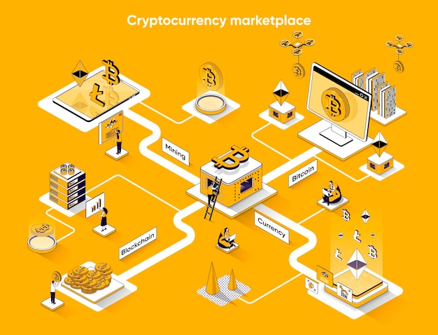 Cryptocurrency markt isometrische webbanner platte isometrie