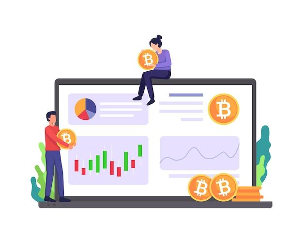 Cryptocurrency marktplaats illustratie mensen analyseren grafiek digitaal geld investeringen en handel