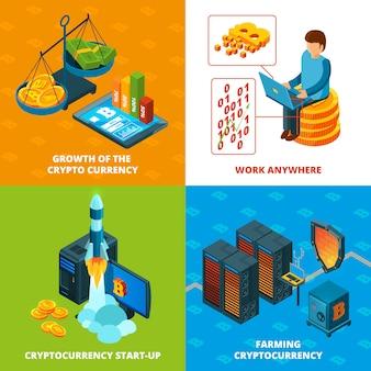 Cryptocurrency-mijnbouw. elektronisch geld blockchain-onderzoek isometrische composities