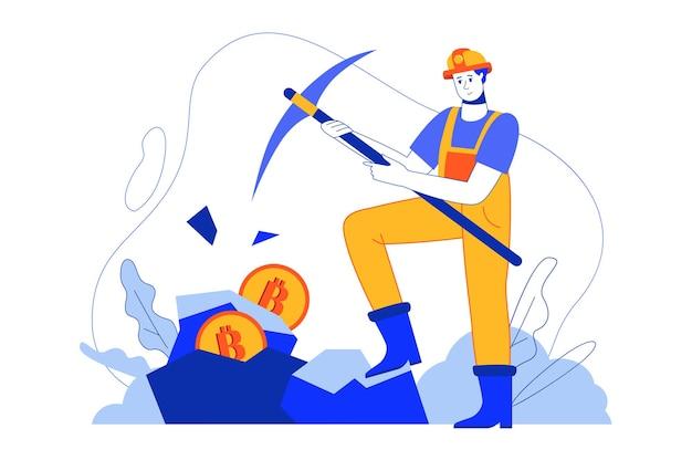 Cryptocurrency mijnbouw webconcept. mijnwerker verdient bitcoins