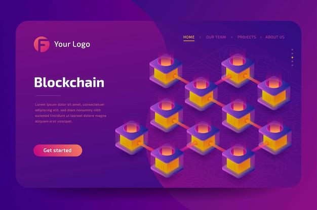 Cryptocurrency-mijnbouwbedrijf. creatie van bitcoins. isometrisch