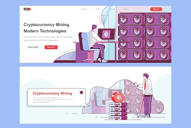 Cryptocurrency mining landingspagina's sjabloon gebruiken als koptekst