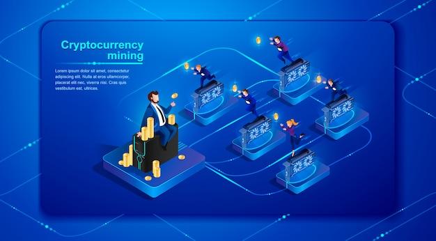 Cryptocurrency mining. vector illustratie.