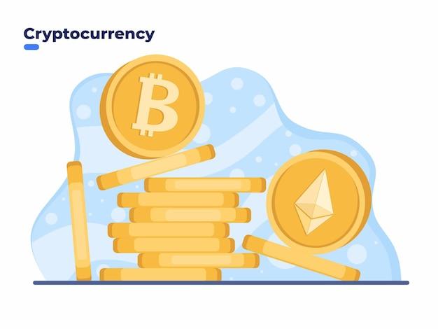 Cryptocurrency munt platte vectorillustratie met gouden kleuren